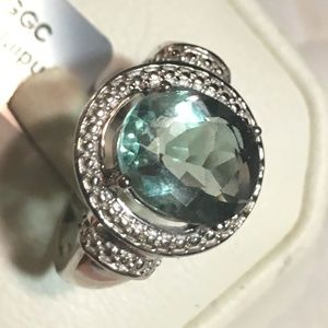 Natural Green Fluorite Large Oval .925 Silver Ring